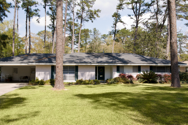 typical ranch style home built in the 1960's in small Americ